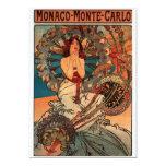 """Alfons Mucha Monaco Monte Carlo 5"""" X 7"""" Invitation Card"""