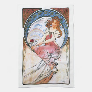Alfons Mucha: Muse of Painting Tea Towel