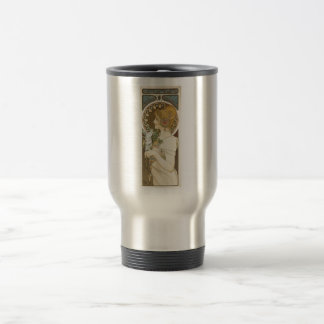 Alfons Mucha Woman in Profile Feather 1899 Stainless Steel Travel Mug