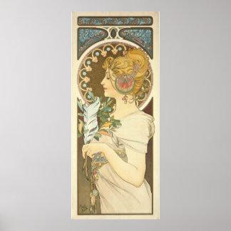 Alfons Mucha woman profile 1899 Art Nouveau Poster