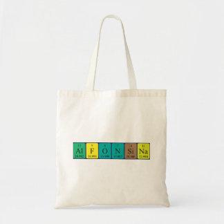 Alfonsina periodic table name tote bag