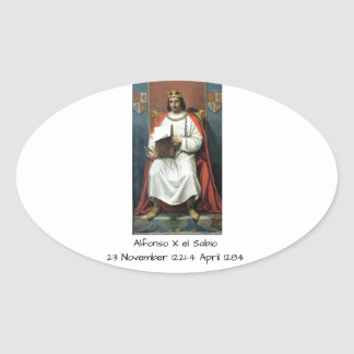 Alfonso x el Sabio Oval Sticker