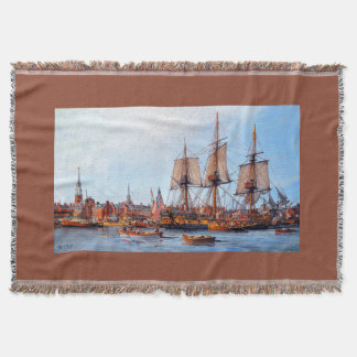 Alfred Frigate Ship Harbor Ocean Throw Blanket