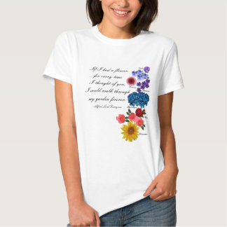 Alfred Lord Tennyson Garden Quote Romantic Floral Tee Shirts