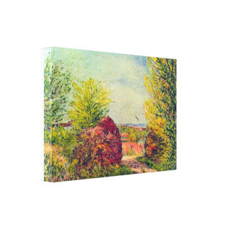 Alfred Sisley - Veneux-Nadon in the spring Stretched Canvas Prints
