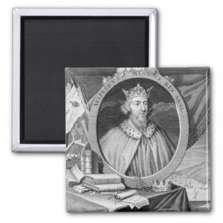 Alfred the Great (849-99) King of Wessex, engraved Square Magnet