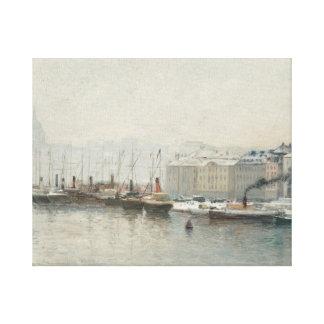 Alfred Wahlberg - Winter Landscape Over Skeppsbron Canvas Print
