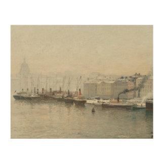 Alfred Wahlberg - Winter Landscape Over Skeppsbron Wood Print