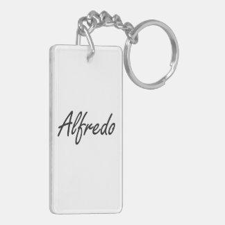 Alfredo Artistic Name Design Double-Sided Rectangular Acrylic Key Ring