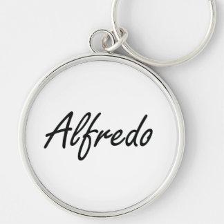 Alfredo Artistic Name Design Silver-Colored Round Key Ring