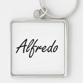 Alfredo Artistic Name Design Silver-Colored Square Key Ring