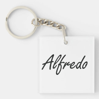 Alfredo Artistic Name Design Single-Sided Square Acrylic Key Ring