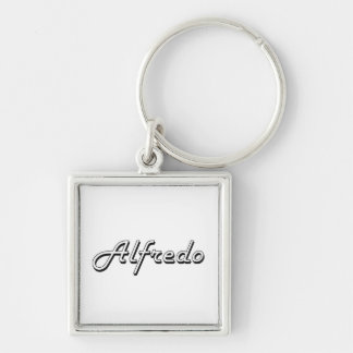 Alfredo Classic Retro Name Design Silver-Colored Square Keychain