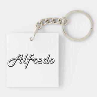 Alfredo Classic Retro Name Design Double-Sided Square Acrylic Keychain