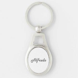 Alfredo Classic Retro Name Design Silver-Colored Oval Key Ring