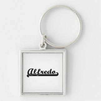 Alfredo Classic Retro Name Design Silver-Colored Square Key Ring