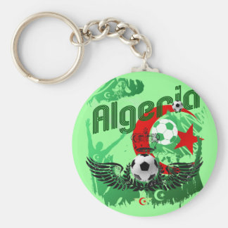 Algeria grunge art Football fans Algerie gifts Basic Round Button Key Ring