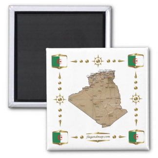 Algeria Map + Flags Magnet