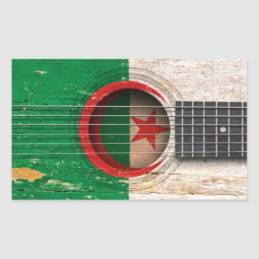Algerian Flag on Old Acoustic Guitar Rectangle Sticker