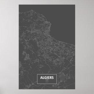 Algiers, Algeria (white on black) Poster