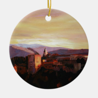 Alhambra Granada Spain with snow covered Mountains Ceramic Ornament