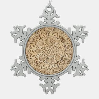 Alhambra pattern snowflake pewter christmas ornament