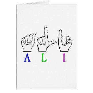 ALI FINGERSPELLED CARD
