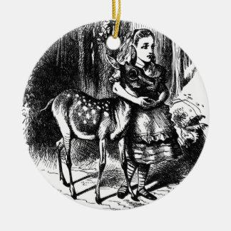 Alice and a Fawn Ceramic Ornament