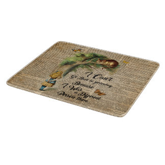 Alice and Cheshire Cat Quote Dictionary Art Cutting Board