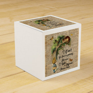 Alice and Cheshire Cat Quote Dictionary Art Favour Box