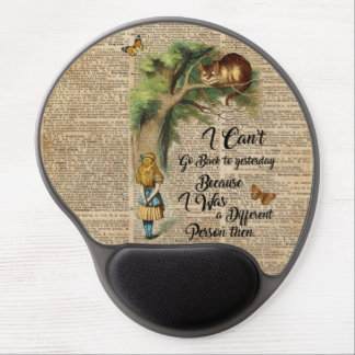 Alice and Cheshire Cat Quote Dictionary Art Gel Mouse Pad