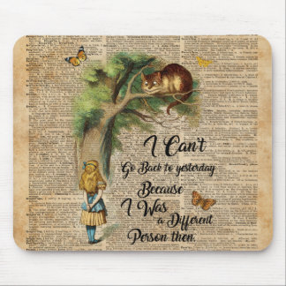 Alice and Cheshire Cat Quote Dictionary Art Mouse Pad