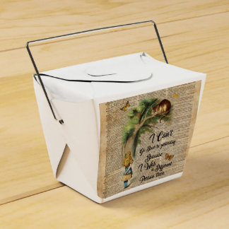 Alice and Cheshire Cat Quote Dictionary Art Wedding Favour Boxes
