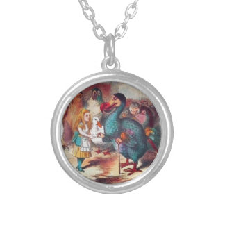 Alice and Dodo in Wonderland Lewis Caroll Tenniel Silver Plated Necklace