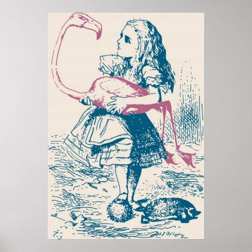 Alice And Flamingo Croquet Mallet Print