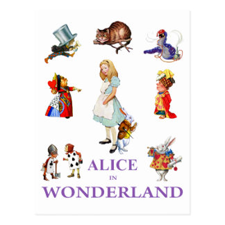 Alice  and Friends from Wonderland Postcard