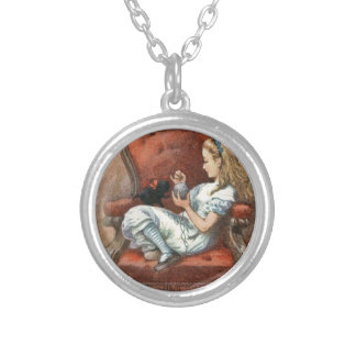 Alice and her Kitten Silver Plated Necklace