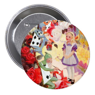 Alice and the Cardmen Painting the Queen s Roses Button
