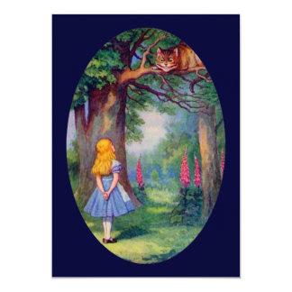 Alice and the Cheshire Cat 13 Cm X 18 Cm Invitation Card