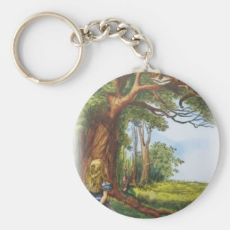 Alice and the Cheshire Cat Basic Round Button Key Ring