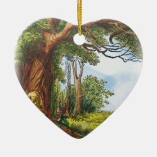 Alice and the Cheshire Cat Ceramic Heart Decoration