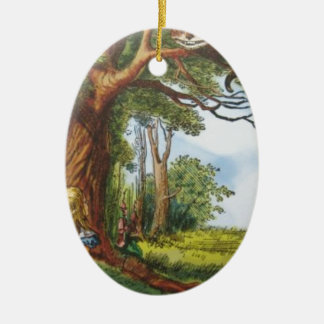 Alice and the Cheshire Cat Ceramic Oval Decoration