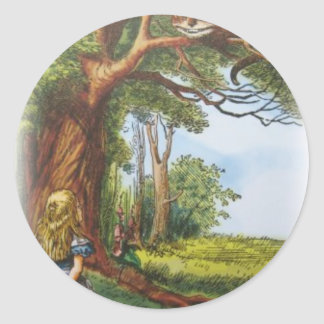 Alice and the Cheshire Cat Classic Round Sticker