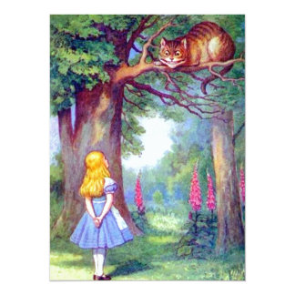Alice and the Cheshire Cat Full Color 14 Cm X 19 Cm Invitation Card