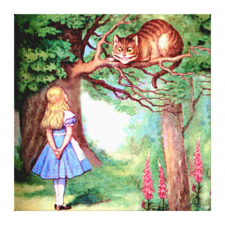 Alice and the Cheshire Cat in Wonderland Gallery Wrap Canvas