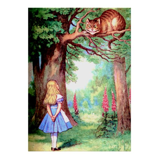 Alice and the Cheshire Cat in Wonderland Posters