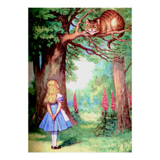 Alice and the Cheshire Cat in Wonderland Poster