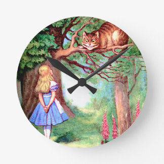 Alice and The Cheshire Cat in Wonderland Wall Clocks