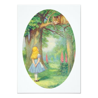 Alice and the Cheshire Cat 13 Cm X 18 Cm Invitation Card