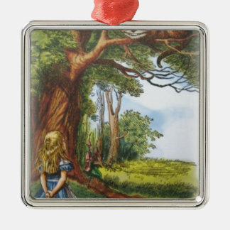 Alice and the Cheshire Cat Silver-Colored Square Decoration